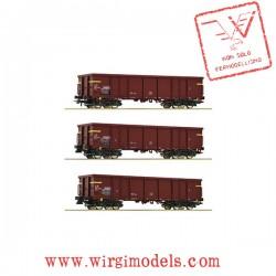 Roco 76160 - Set composto da 3 carri a sponde, FS ep.IV