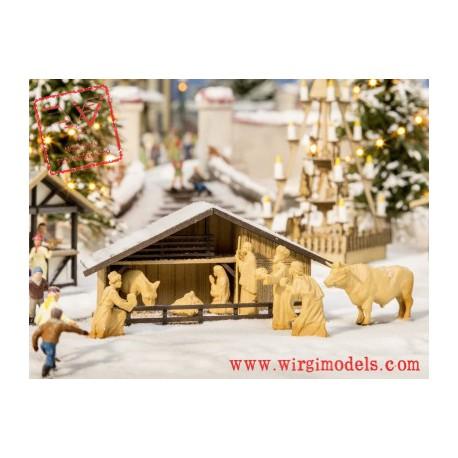 Noch 14394 - Capanna di Natale con figure in  legno.