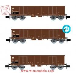 ARNOLD HN6414 - FS, set di 3 carri aperti Eaos, livrea marrone, caricato con rottame, epoca IV-V