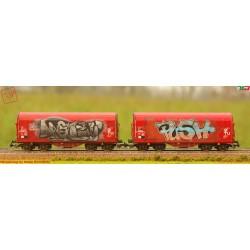 PIKO 58362 - WMLab.:002 - Set di 2 carri telonati tipo Shimmns, BD AG