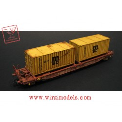 Roco 76740 WM - FS Carro a tasca con due container MSC, elaborazione WM.
